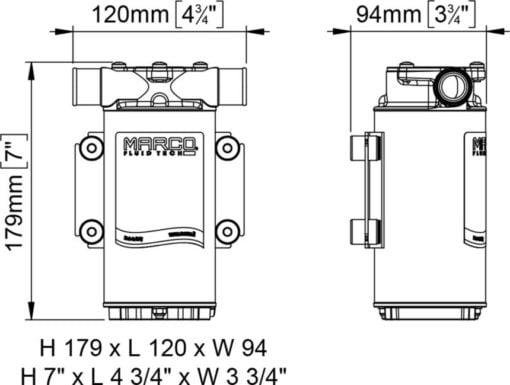 Marco UP1-B Ballast pump with rubber impeller 45 l/min (24 Volt) - Code 16200313 5