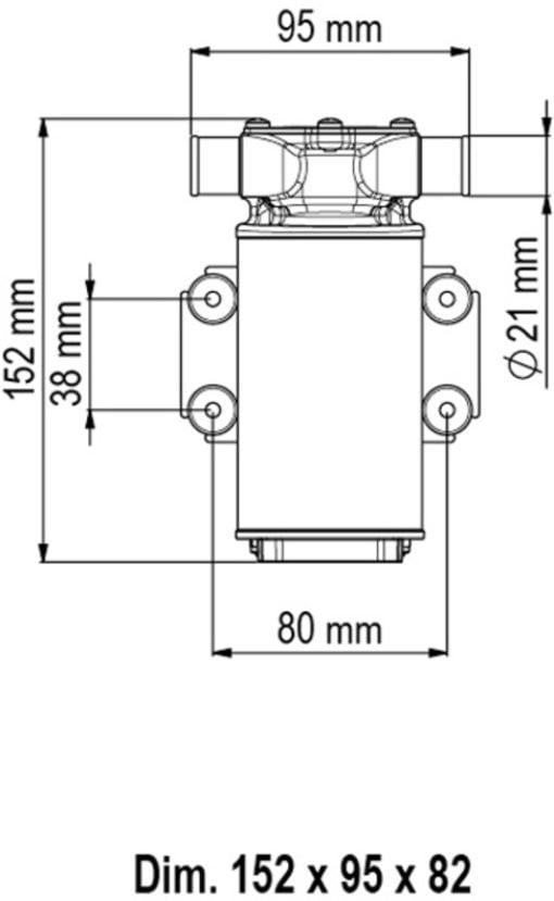 Marco UP1-J Pump, rubber impeller 28 l/min (12 Volt) - Code 16200412 4