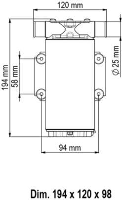 Marco UP1-M Pump, rubber impeller 45 l/min (12 Volt) - Code 16200612 8